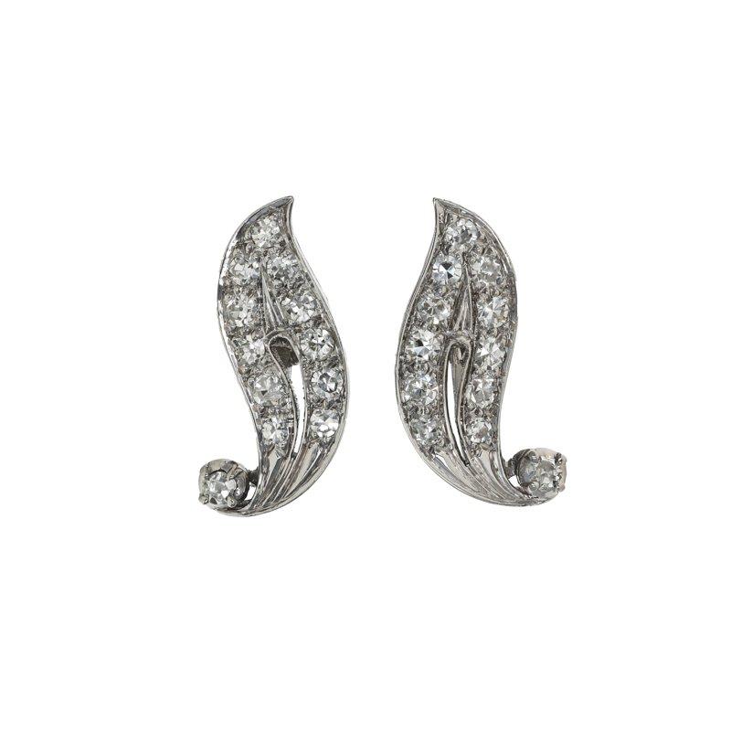 Estate Radcliffe Diamond Leaf Earrings