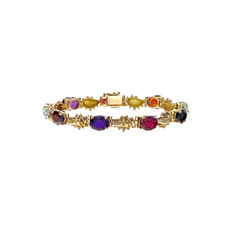 Estate Radcliffe Gemstone & Golden Nugget Bracelet