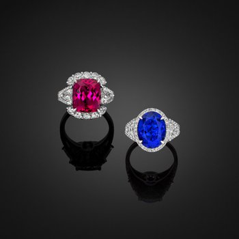 Rubellite and Tanzanite