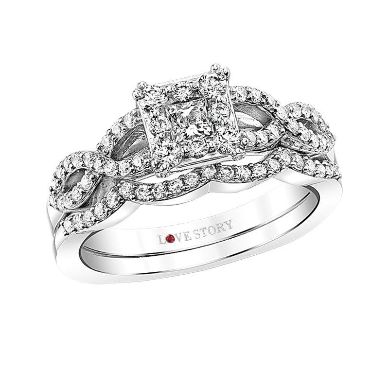 Square Infinity Engagement Ring by Love Story