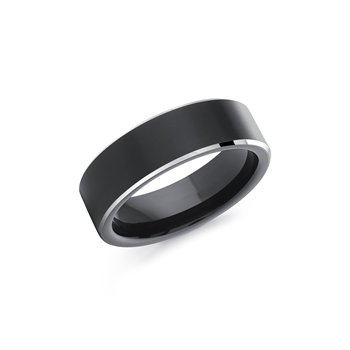 Men's Black Cobalt Ring With White Edge