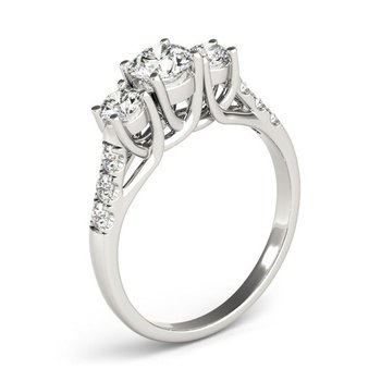 Lab Grown Diamonds set in a 14k White Gold 3 Stone Ring