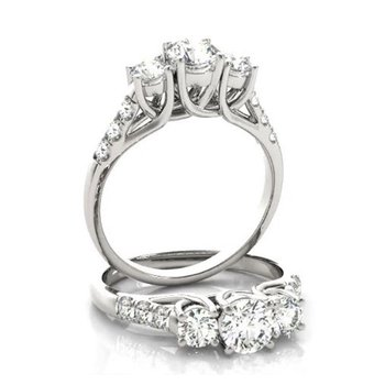 Lab Grown Diamonds set in a 14k White Gold 3 Stone Ring
