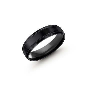 Men's Black Cobalt Ring with Milgrain Border