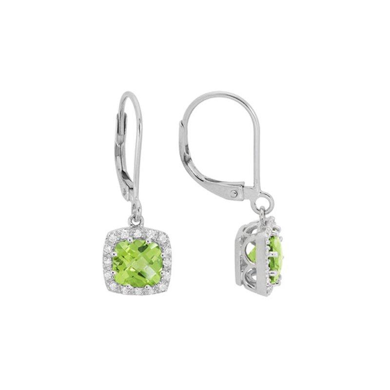 Lasker Gemstone Peridot Halo Drop Earrings