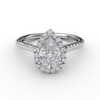Pear Shaped Halo Engagement ring Mounting