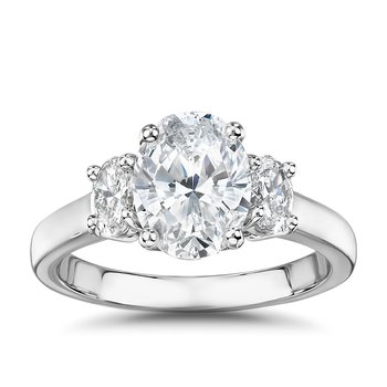 Past-Present-Future Ring With Oval Diamonds - 3/4cttw