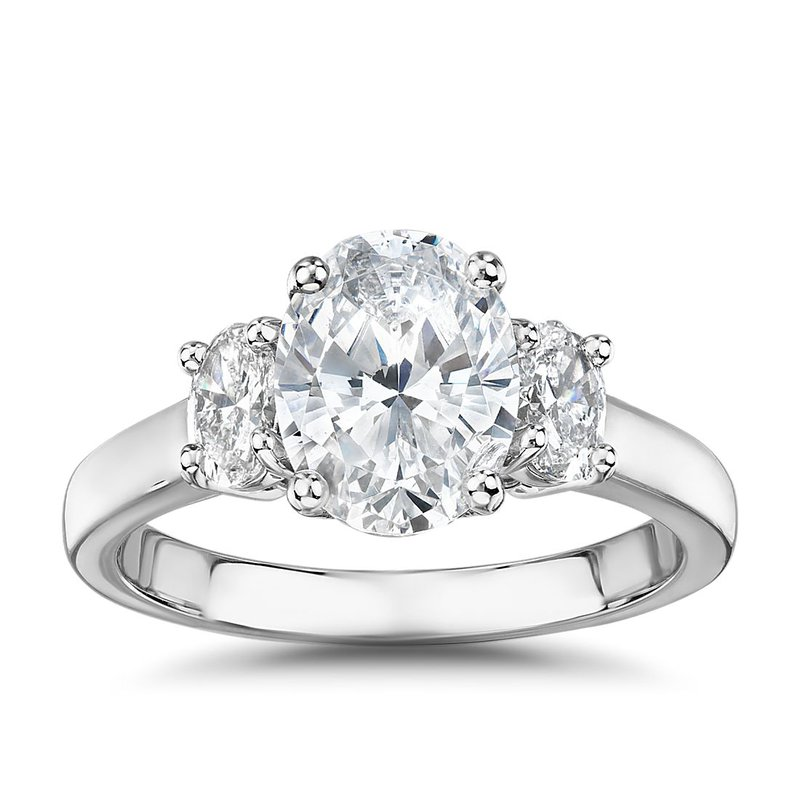 Lasker Bridal Past-Present-Future Ring With Oval Diamonds - 3/4cttw