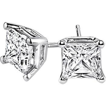 Princess-Cut Stud Earrings - 5/8cttw