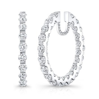 In and Out Diamond Hoop Earrings