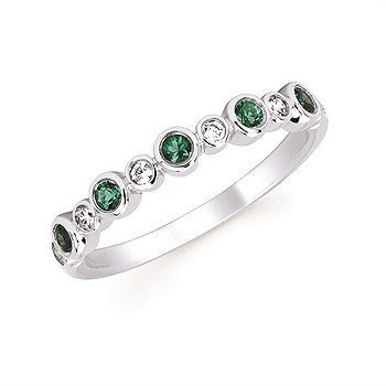 May Stackable Birthstone and Diamond Band