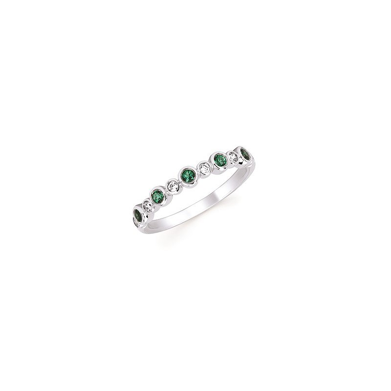 Lasker Gemstone May Stackable Birthstone and Diamond Band