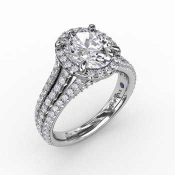 Three Row Split Shank Halo Engagement Ring Mounting