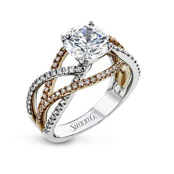 Rose & White Gold Crisscross Ring Mounting