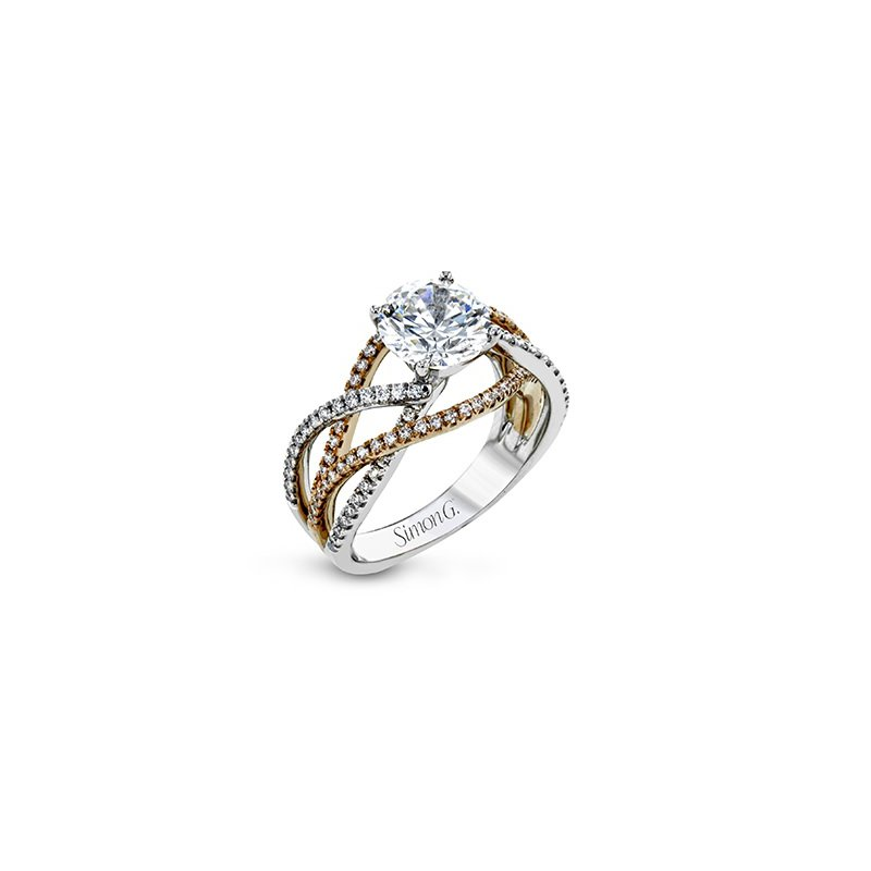 Simon G Rose & White Gold Crisscross Ring Mounting
