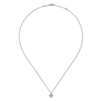 14K White Gold Diamond Clover Pendant Necklace