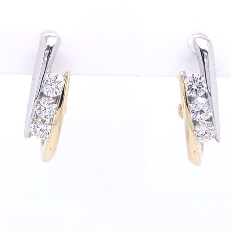 Lasker Diamond Fashion Bypass Channel Earrings