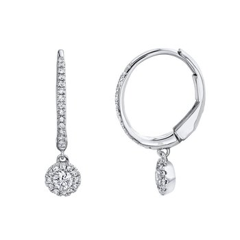 Diamond Drop Petite Halo Earrings
