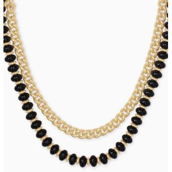Kendra Scott Rebecca Yellow Multi Strand Necklace In Black Agate