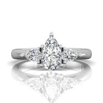 Forevermark Platinum Three Stone Ring with Pear-ctu Diamonds