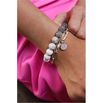 Matte Black Agate Ombre Bracelet Set