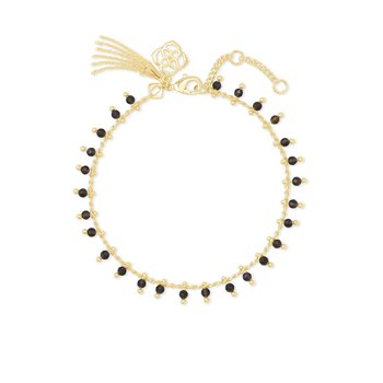 Jenna Gold Delicate Chain Bracelet In Black Obsidian