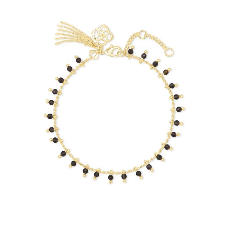 Kendra Scott Jenna Gold Delicate Chain Bracelet In Black Obsidian