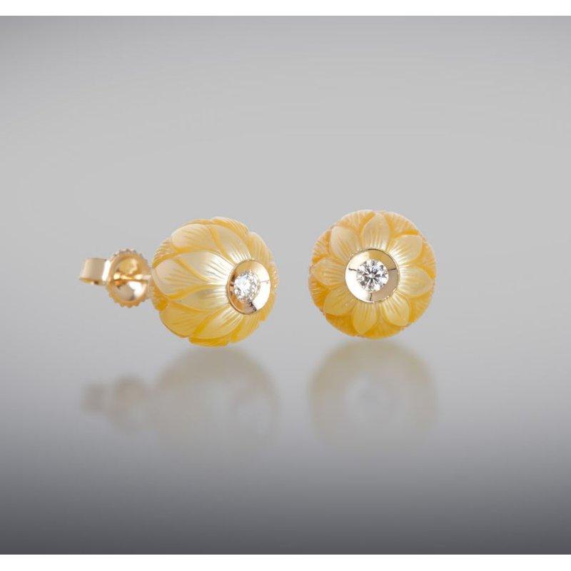 Lasker Pearl Fashion Yellow South Sea Stud Earrings