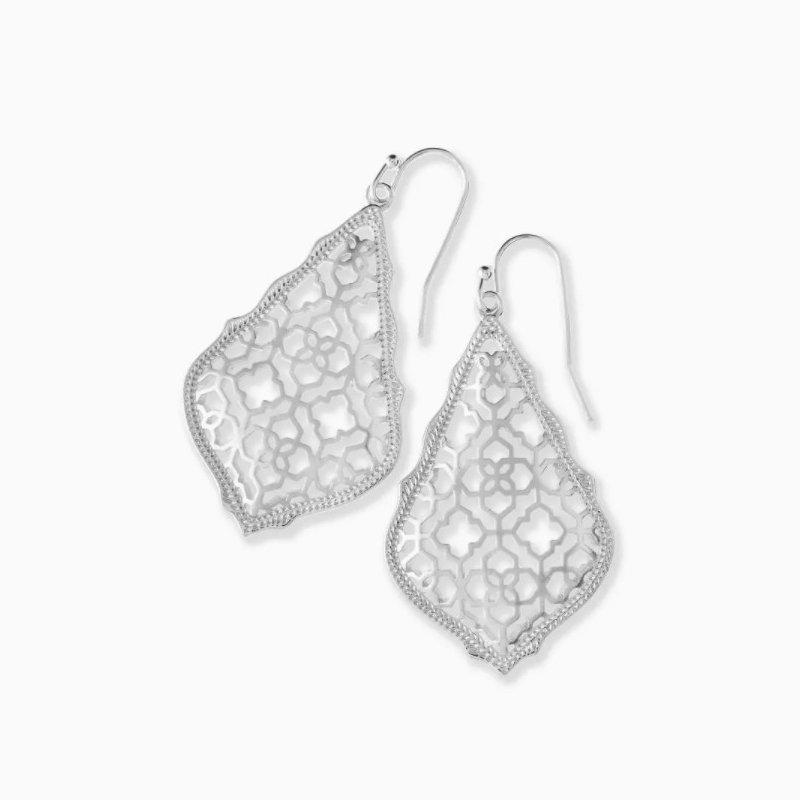 Kendra Scott Addie Silver Drop Earrings In Silver Filigree Mix