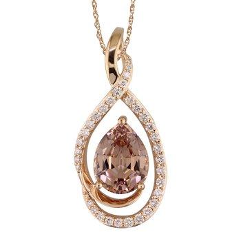 Lotus Garnet & Diamond Pendant