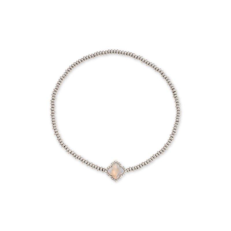Kendra Scott Kendra Scott Mallory Stretch Bracelet Rhodium Gray Banded Agate