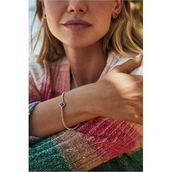 Kendra Scott Mallory Stretch Bracelet Rhodium Gray Banded Agate