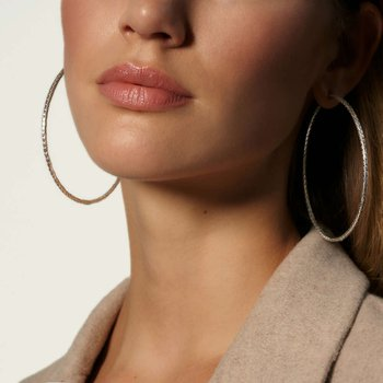 Classic Chain Silver Extra-Large Hoop Earrings