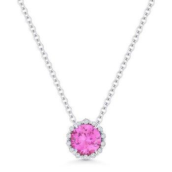Created Pink Sapphire & Diamond Halo Pendant