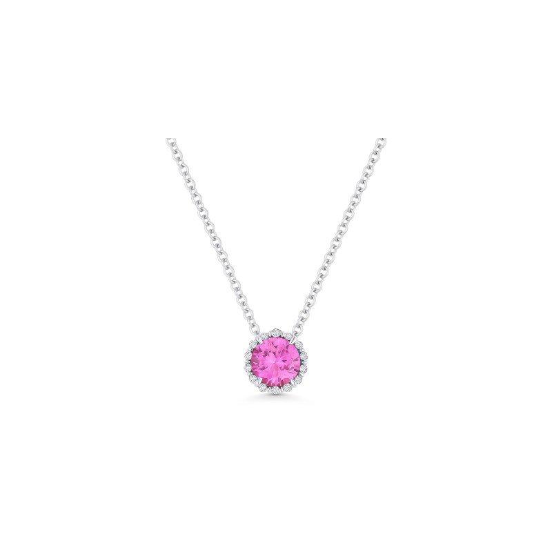 Lasker Gemstone Created Pink Sapphire & Diamond Halo Pendant