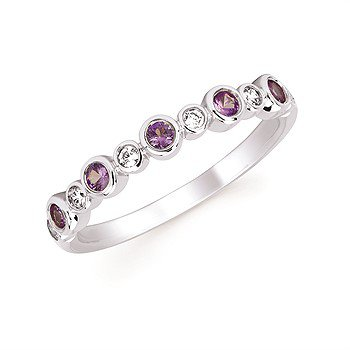June Stackable Birthstone and Diamond Band