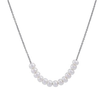 White Pearl Button Link Necklace