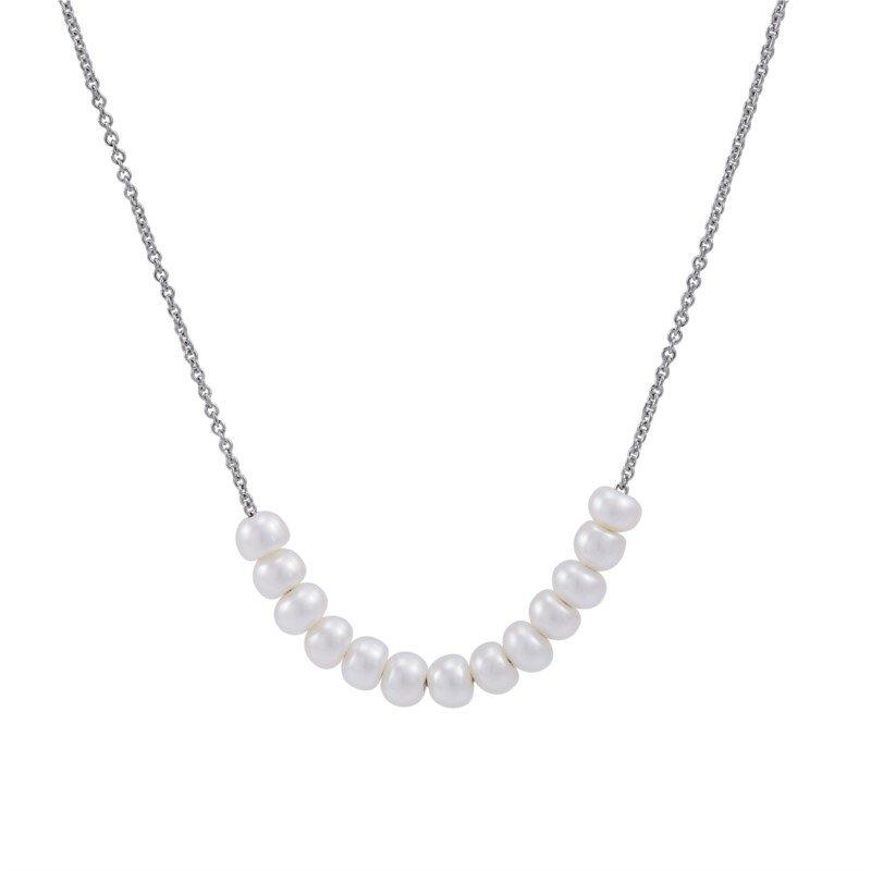 Lasker Pearl Fashion White Pearl Button Link Necklace