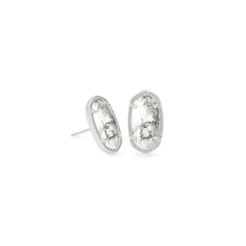 Kendra Scott Ellie Silver Stud Earrings In White Howlite