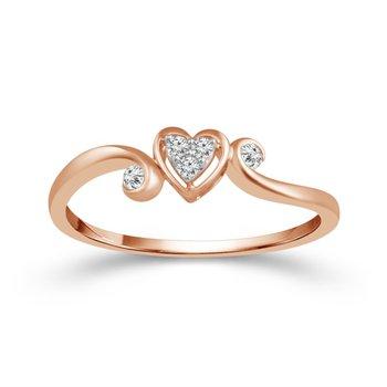 Heart Promise Ring in Rose Gold