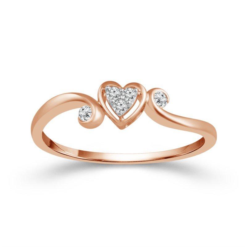 Lasker Diamond Fashion Heart Promise Ring in Rose Gold