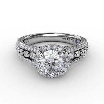 Round Halo Three Row Engagement Ring Mounting