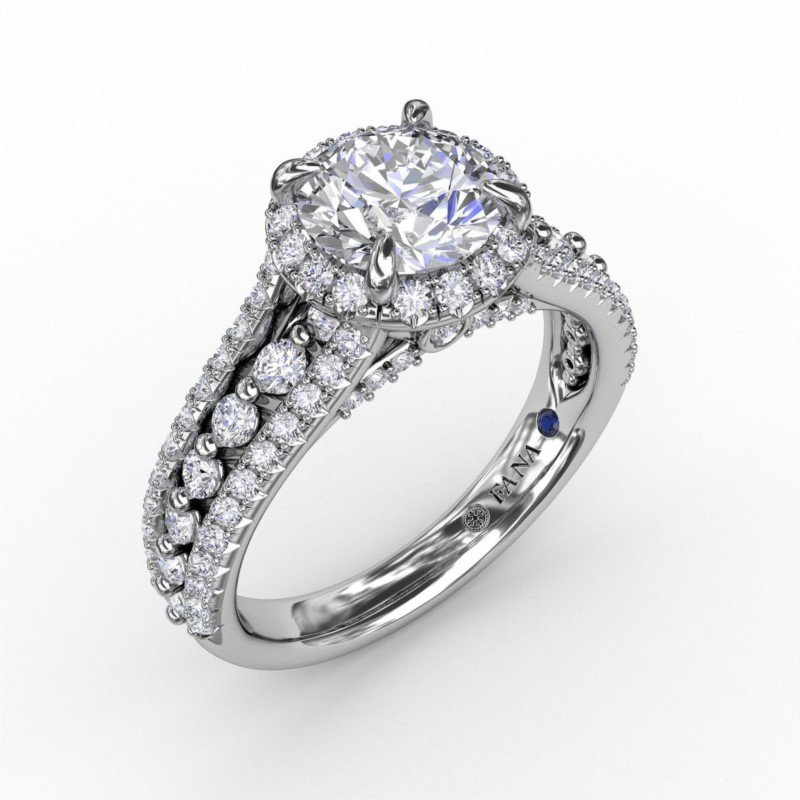 Fana Round Halo Three Row Engagement Ring Mounting