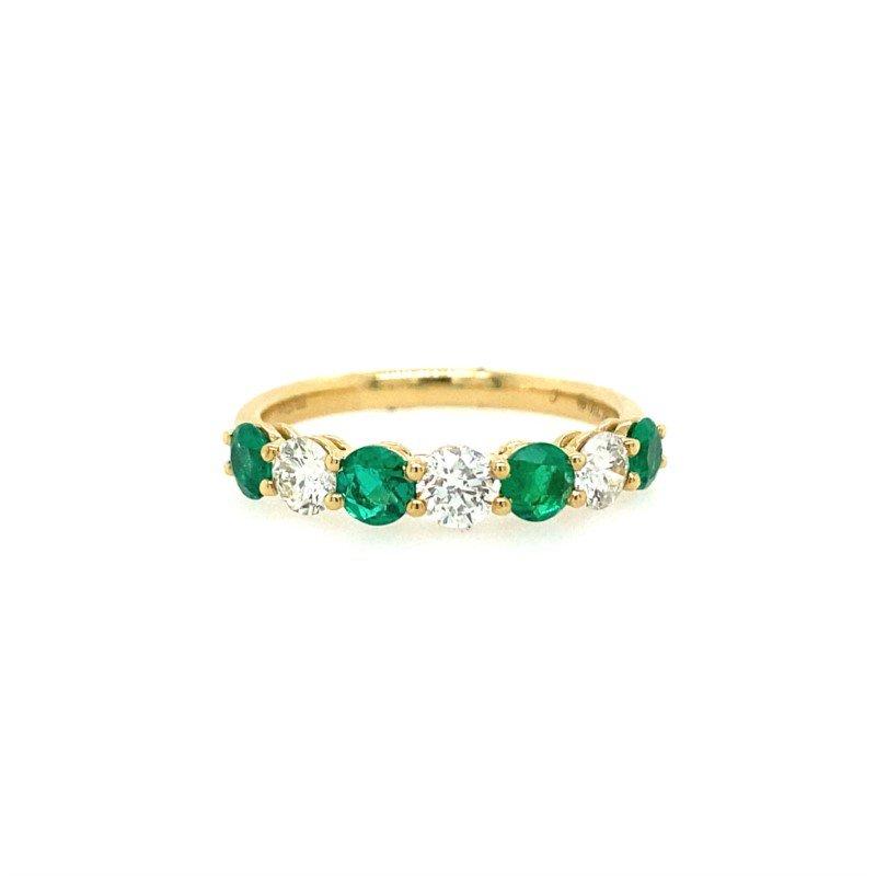 Lasker Gemstone Emerald and Diamond Band