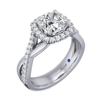 Square Halo Engagement Ring Mounting with Crisscross Diamond Shank