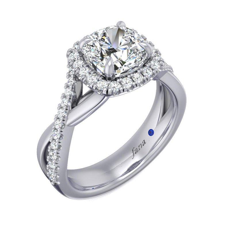 Fana Square Halo Engagement Ring Mounting with Crisscross Diamond Shank