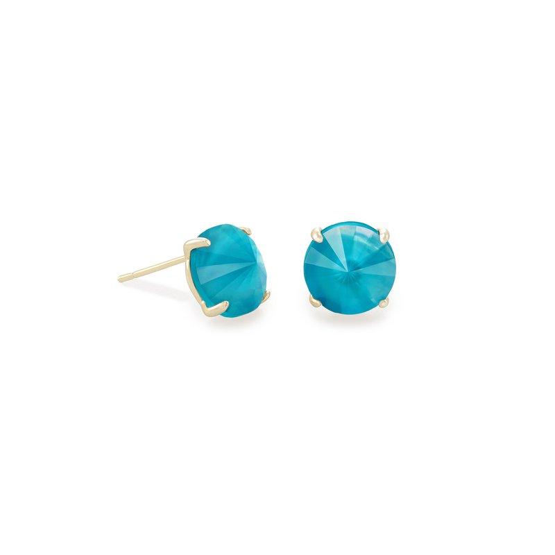 Kendra Scott Jolie Silver Stud Earrings In Peacock Blue Illusion