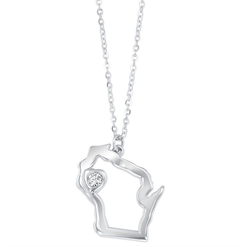Lasker Gold Fashion Heart of Wisconsin Pendant - 14Kt White Gold