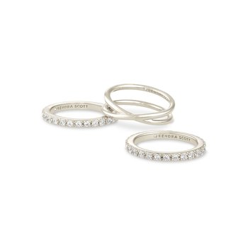 Kendra Scott Livy Ring Set Of 3 Rhodium Metal 9
