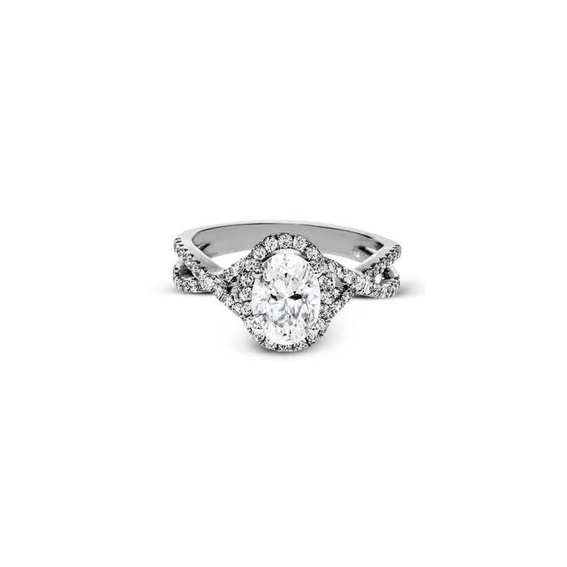 Simon G Twisted Oval Halo Engagement Ring Mounting